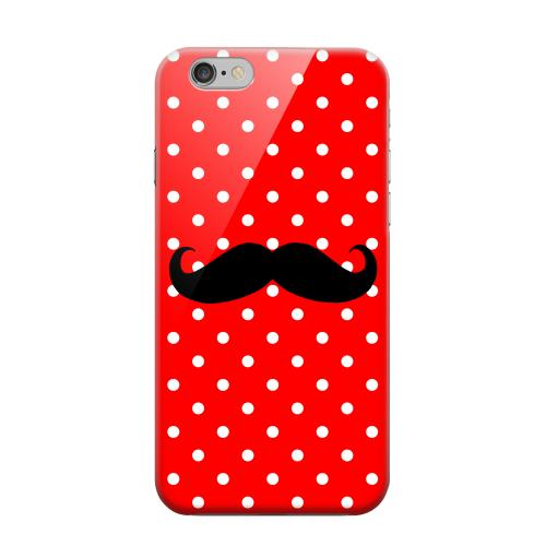 Geeks Designer Line (GDL) Apple iPhone 6 Matte Hard Back Cover - Stache on Red