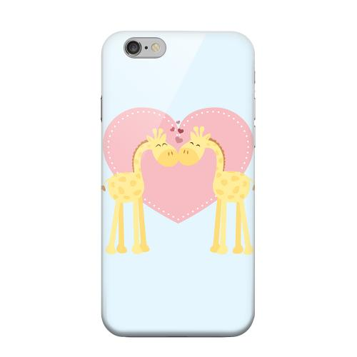 Geeks Designer Line (GDL) Apple iPhone 6 Matte Hard Back Cover - Giraffe Love on Baby Blue