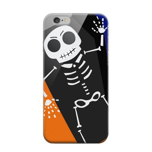 Geeks Designer Line (GDL) Apple iPhone 6 Matte Hard Back Cover - Dancing Skeleton on Black/Orange/Purple