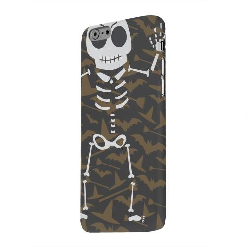Geeks Designer Line (GDL) Apple iPhone 6 Matte Hard Back Cover - Dancing Skeleton on Witch Hat/Broom/Bat