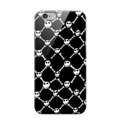 Geeks Designer Line (GDL) Apple iPhone 6 Matte Hard Back Cover - White Skull & Crossbones on Black