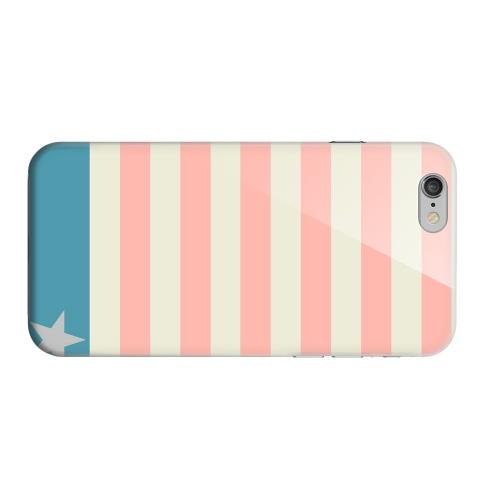 Geeks Designer Line (GDL) Apple iPhone 6 Matte Hard Back Cover - Bars & Stripes Forever on Pink/ Teal