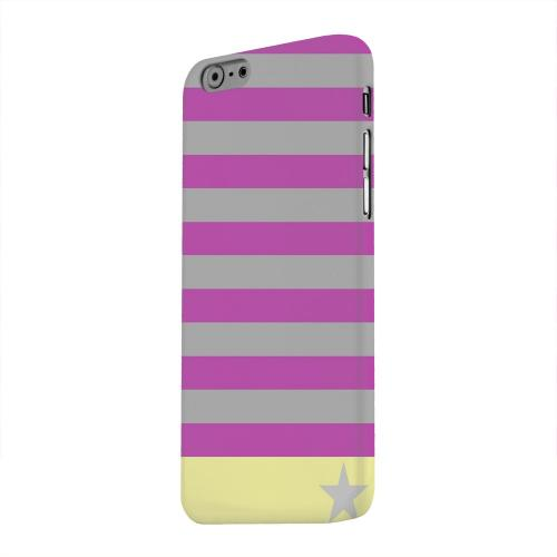Geeks Designer Line (GDL) Apple iPhone 6 Matte Hard Back Cover - Bars & Stripes Forever on Purple/ Yellow