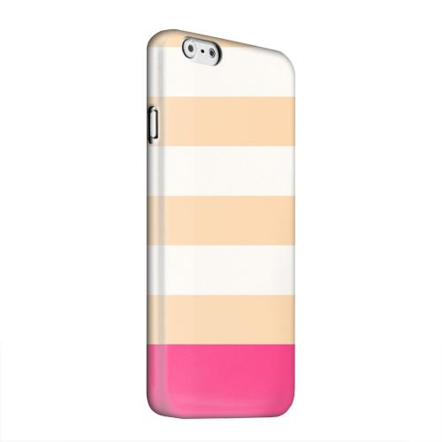 Geeks Designer Line (GDL) Apple iPhone 6 Matte Hard Back Cover - Pink Candy Stripes w/ Pink Bar