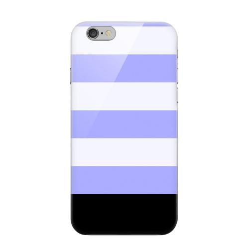 Geeks Designer Line (GDL) Apple iPhone 6 Matte Hard Back Cover - Purple Candy Stripes w/ Black Bar