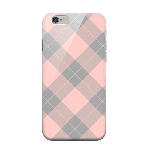 Geeks Designer Line (GDL) Apple iPhone 6 Matte Hard Back Cover - Pink/ Gray Simple Plaid