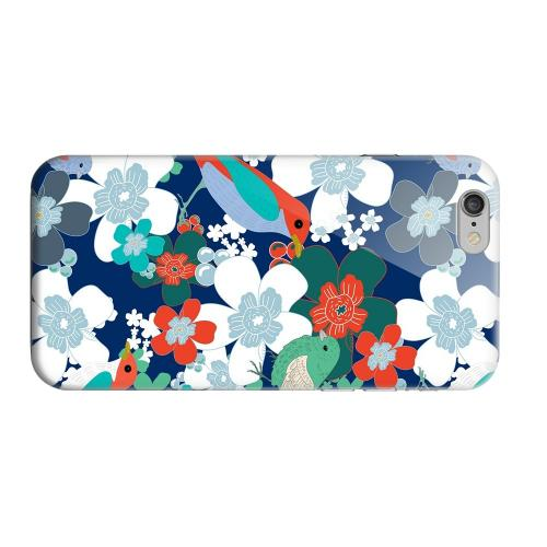 Geeks Designer Line (GDL) Apple iPhone 6 Matte Hard Back Cover - Birds & Flowers on Blue/ Red