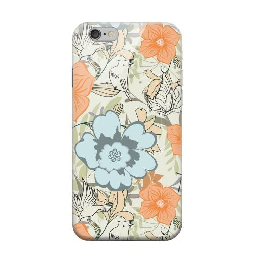 Geeks Designer Line (GDL) Apple iPhone 6 Matte Hard Back Cover - Butterflies & Birds on Orange/ Blue