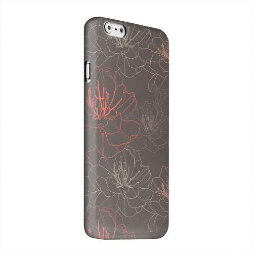 Geeks Designer Line (GDL) Apple iPhone 6 Matte Hard Back Cover - Flower Outline on Brown
