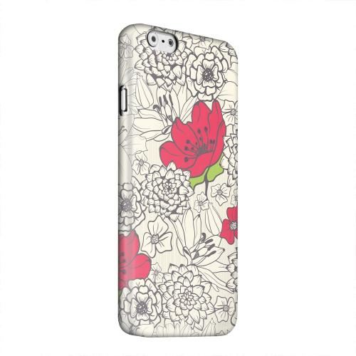 Geeks Designer Line (GDL) Apple iPhone 6 Matte Hard Back Cover - Flower Outline Red Accent