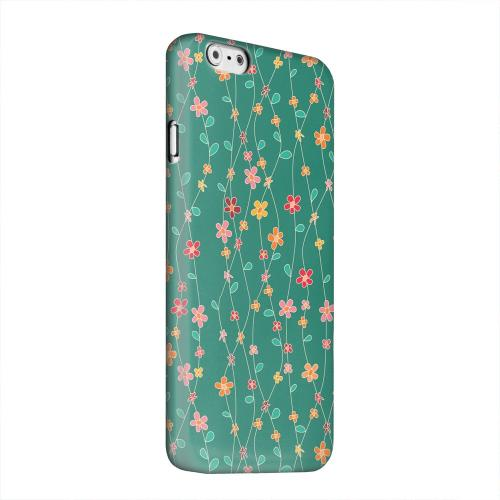 Geeks Designer Line (GDL) Apple iPhone 6 Matte Hard Back Cover - Flowers & Vines on Green