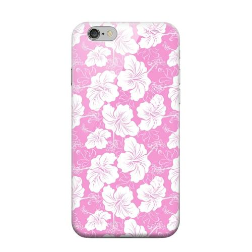 Geeks Designer Line (GDL) Apple iPhone 6 Matte Hard Back Cover - White Hibiscus on Pink