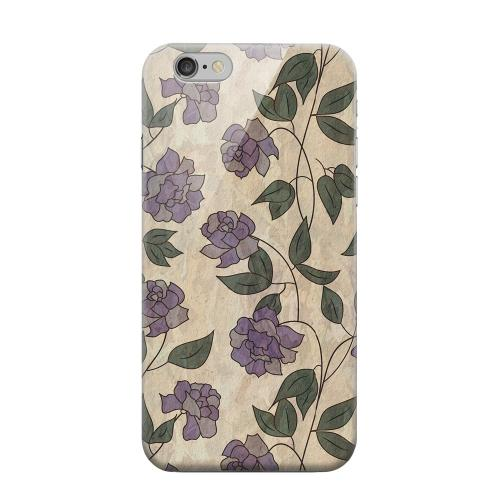 Geeks Designer Line (GDL) Apple iPhone 6 Matte Hard Back Cover - Purple Flowers & Vines Wallpaper