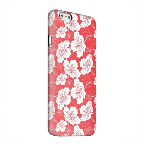 Geeks Designer Line (GDL) Apple iPhone 6 Matte Hard Back Cover - White Hibiscus on Red