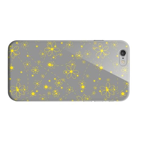 Geeks Designer Line (GDL) Apple iPhone 6 Matte Hard Back Cover - Yellow Daisies on Gray