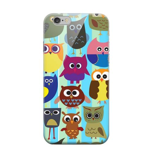 Geeks Designer Line (GDL) Apple iPhone 6 Matte Hard Back Cover - Colorful Owls on Blue/Green Stripes