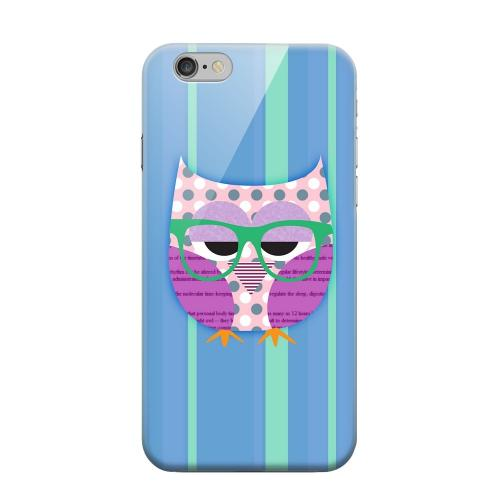 Geeks Designer Line (GDL) Apple iPhone 6 Matte Hard Back Cover - Hipster Owl on Blue/Green Stripes