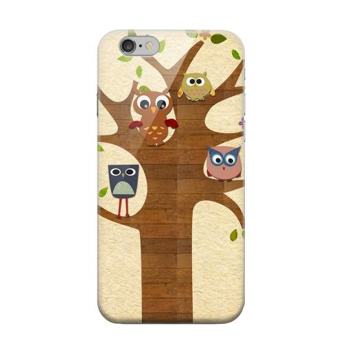 Geeks Designer Line (GDL) Apple iPhone 6 Matte Hard Back Cover - Owls on Brown Tree