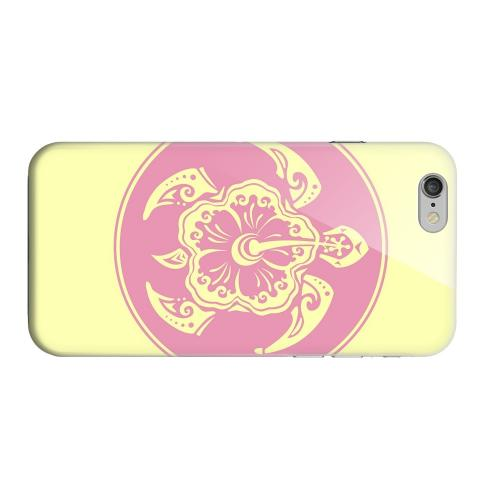 Geeks Designer Line (GDL) Apple iPhone 6 Matte Hard Back Cover - Pink Island Turtle Solo on Yellow