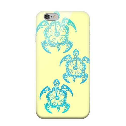 Geeks Designer Line (GDL) Apple iPhone 6 Matte Hard Back Cover - Blue Island Turtle Trail on yellow