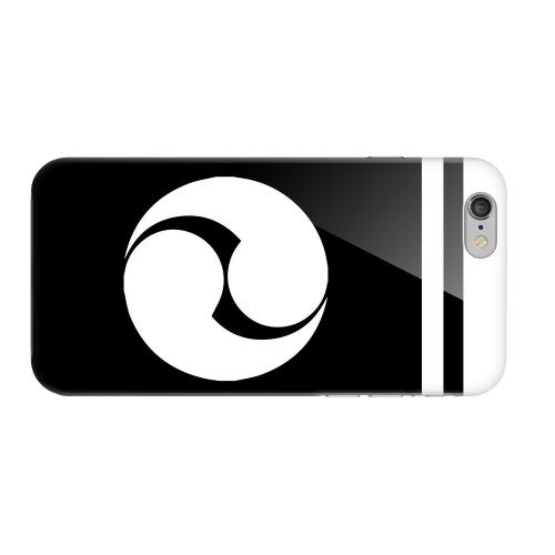 Geeks Designer Line (GDL) Apple iPhone 6 Matte Hard Back Cover - White Tomoe Kamon w/ Stripe v.2