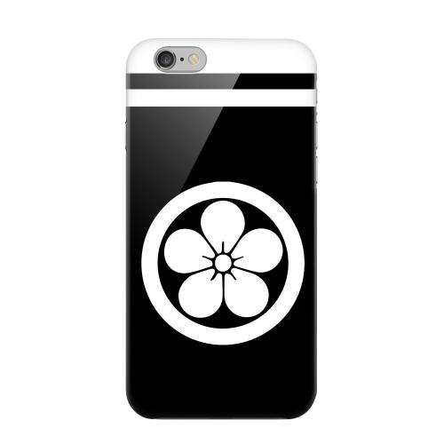 Geeks Designer Line (GDL) Apple iPhone 6 Matte Hard Back Cover - White Umebachi Kamon w/ Stripe v.3