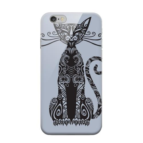 Geeks Designer Line (GDL) Apple iPhone 6 Matte Hard Back Cover - Kitty Nouveau on Blue/ Gray