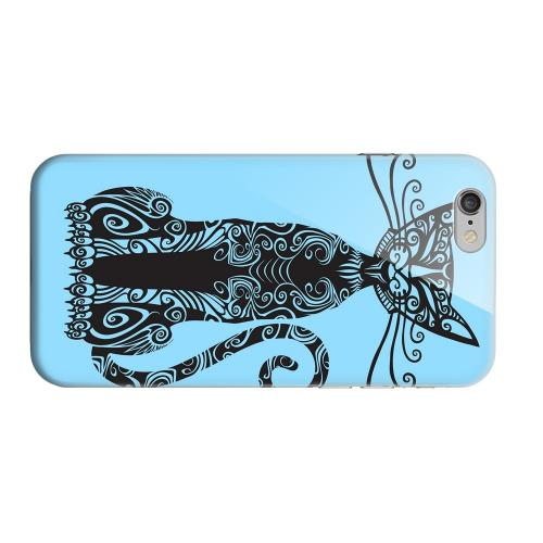 Geeks Designer Line (GDL) Apple iPhone 6 Matte Hard Back Cover - Kitty Nouveau on Light Blue
