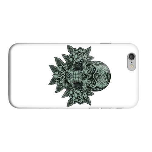 Geeks Designer Line (GDL) Apple iPhone 6 Matte Hard Back Cover - Skull Roses Aqua