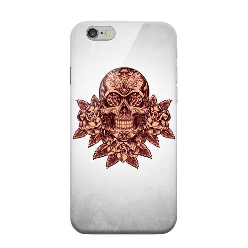 Geeks Designer Line (GDL) Apple iPhone 6 Matte Hard Back Cover - Skull Roses Red Grunge