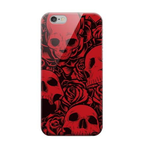 Geeks Designer Line (GDL) Apple iPhone 6 Matte Hard Back Cover - Skulls Rose Red/ Black