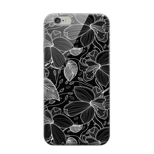 Geeks Designer Line (GDL) Apple iPhone 6 Matte Hard Back Cover - White on Black Orchid Lines