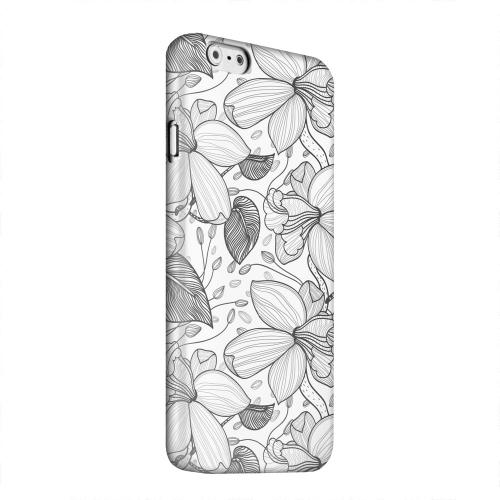 Geeks Designer Line (GDL) Apple iPhone 6 Matte Hard Back Cover - Black on White Orchid Lines