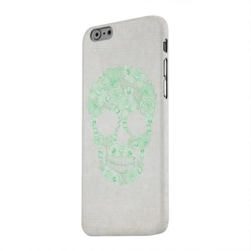 Geeks Designer Line (GDL) Apple iPhone 6 Matte Hard Back Cover - Floral Green Skull on Canvas