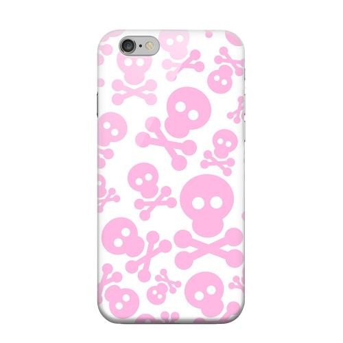 Geeks Designer Line (GDL) Apple iPhone 6 Matte Hard Back Cover - Skull Face Invasion Pink on White