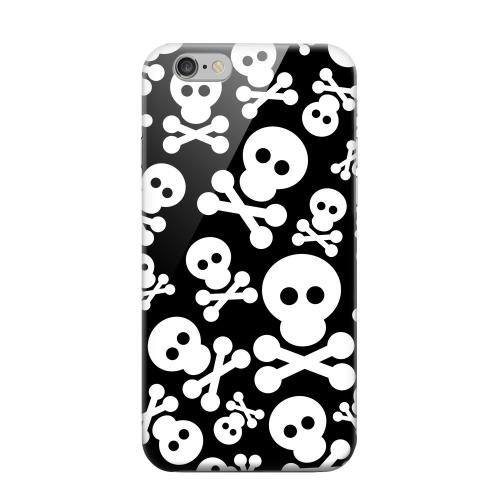Geeks Designer Line (GDL) Apple iPhone 6 Matte Hard Back Cover - Skull Face Invasion White on Black