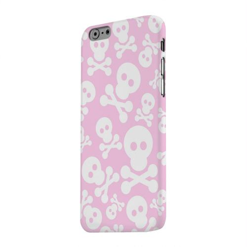 Geeks Designer Line (GDL) Apple iPhone 6 Matte Hard Back Cover - Skull Face Invasion White on Pink