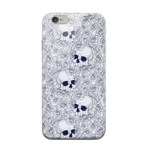 Geeks Designer Line (GDL) Apple iPhone 6 Matte Hard Back Cover - Thorn Skull Blue Halftone