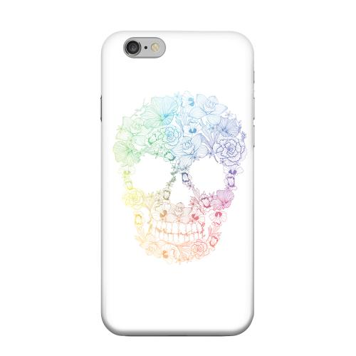 Geeks Designer Line (GDL) Apple iPhone 6 Matte Hard Back Cover - Floral Rainbow Skull on White