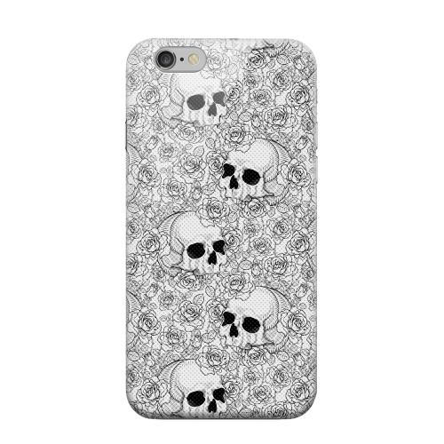 Geeks Designer Line (GDL) Apple iPhone 6 Matte Hard Back Cover - Thorn Skull Black White Halftone