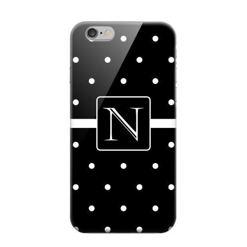 Geeks Designer Line (GDL) Apple iPhone 6 Matte Hard Back Cover - Monogram N on Classic Mini Polka Dots