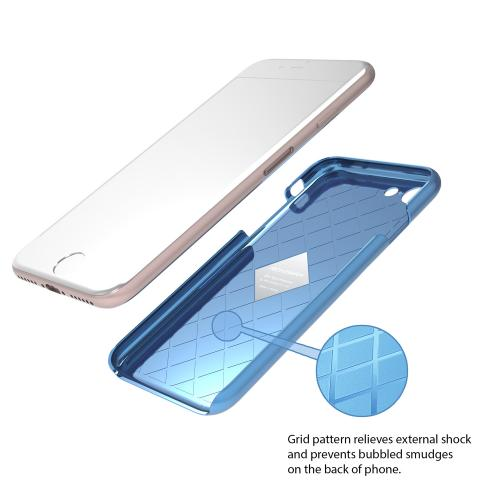 [Apple iPhone 7] (4.7 inch) Case, IRONGRAM [Premium Series] Super Slim Fit Thin, Shock Resistant PC Metallic Brushed Hard Case [Coral Blue]