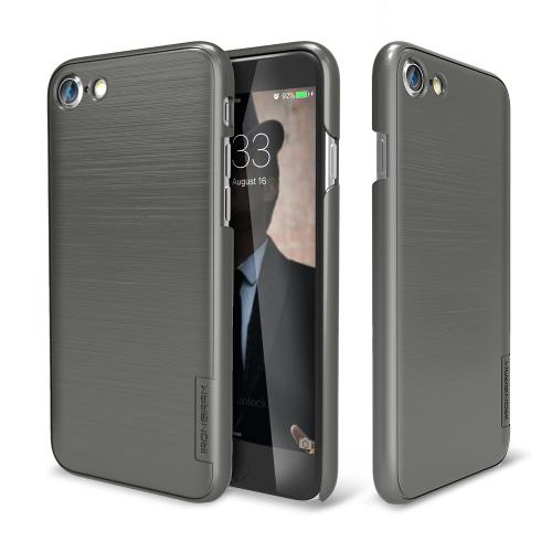 Apple iPhone 7 (4.7 inch) Case, IRONGRAM [Premium Series] Super Slim Fit Thin, Shock Resistant PC Metallic Brushed Hard Case [Metal Gray]