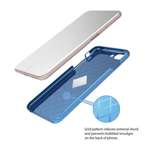 Apple iPhone 7 Plus (5.5 inch) Case, IRONGRAM [Premium Series] Super Slim Fit Thin, Shock Resistant PC Metallic Brushed Hard Case [Coral Blue]