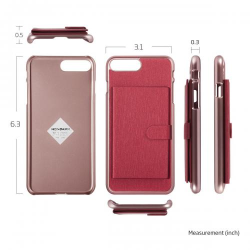 Apple iPhone 7 Plus (5.5 inch) Case, IRONGRAM [Slim Pocket] Super Slim Fit Thin, Shock Resistant PC Metallic Brushed Hard Case w/ Diary 2 Card Holder [Rose Gold/ Red]