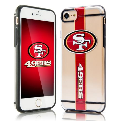 Apple iPhone 7 (4.7 inch) Sports Case, [San Francisco 49ers] Hydroclear Ultra-Slim 3D UV Printed Textued Hard Back Case w/ TPU Border