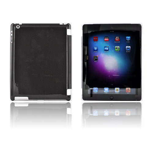 Apple New iPad (3rd Gen.) Hard Case - Black/ Gray Carbon Fiber (Works with Smart Cover!)