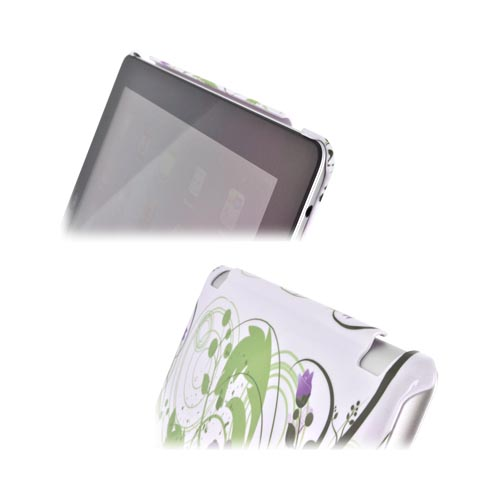 Apple New iPad (3rd Gen.) Hard Case - Purple Lily on Green/ White (Works with Smart Cover!)