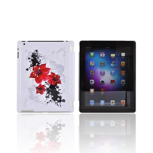 Apple New iPad (3rd Gen.) Hard Case - Red Lily Flower on White (Works with Smart Cover!)