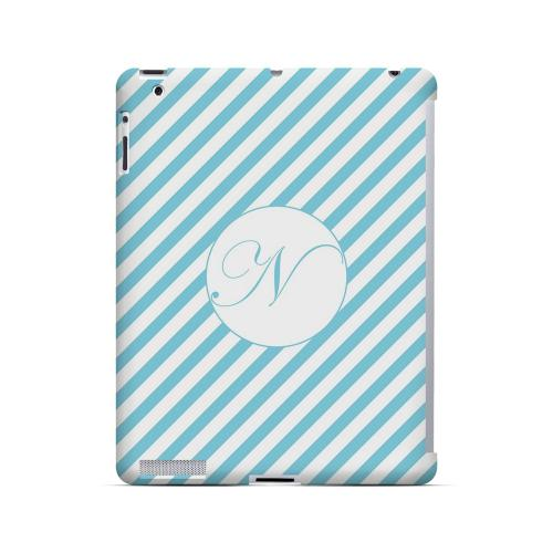 Calligraphy N on Mint Slanted Stripes - Geeks Designer Line Monogram Series Hard Case for Apple iPad (3rd & 4th Gen.)
